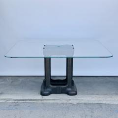 Sculptural Cast Iron Pedestal and Glass Industrial Dining Work Table - 1402919