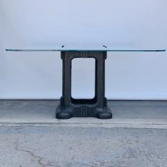 Sculptural Cast Iron Pedestal and Glass Industrial Dining Work Table - 1402921