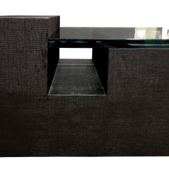 Sculptural Coffee Table in Black Lacquered Linen and Glass 1970s - 693985