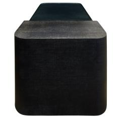 Sculptural Coffee Table in Black Lacquered Linen and Glass 1970s - 693988