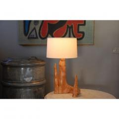 Sculptural Cypress Root Table Lamp with Custom Silk Shade - 1080938