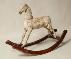 Sculptural Folk Art Rocking Horse in Original Chalk White Surface - 663762