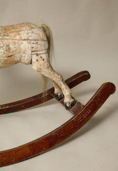Sculptural Folk Art Rocking Horse in Original Chalk White Surface - 663765