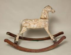 Sculptural Folk Art Rocking Horse in Original Chalk White Surface - 663766