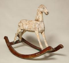 Sculptural Folk Art Rocking Horse in Original Chalk White Surface - 663767