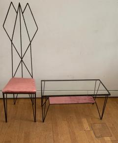 Sculptural Hight Back Chair and Side Table - 1979374