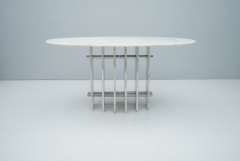 Sculptural Oval Dining Table in Carrara Marble and Chrome Italy 1970s - 1775022