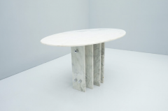 Sculptural Oval Dining Table in Carrara Marble and Chrome Italy 1970s - 1775023