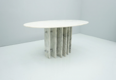 Sculptural Oval Dining Table in Carrara Marble and Chrome Italy 1970s - 1775024