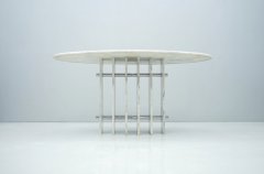 Sculptural Oval Dining Table in Carrara Marble and Chrome Italy 1970s - 1775025