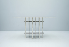 Sculptural Oval Dining Table in Carrara Marble and Chrome Italy 1970s - 1775026