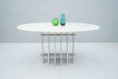 Sculptural Oval Dining Table in Carrara Marble and Chrome Italy 1970s - 1775027