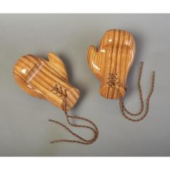 Sculptural Pair of Boxing Gloves in Polished Laminated Wood - 1276202