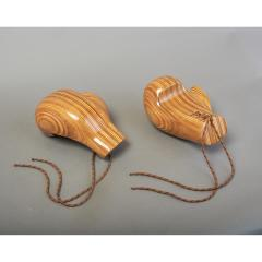 Sculptural Pair of Boxing Gloves in Polished Laminated Wood - 1276205