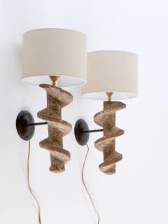 Sculptural Pair of Spiral Screw Wall Lamps in Hardwood Belgium 19th Century - 1409184
