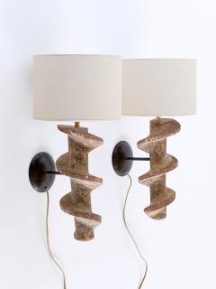 Sculptural Pair of Spiral Screw Wall Lamps in Hardwood Belgium 19th Century - 1409186