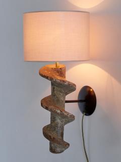 Sculptural Pair of Spiral Screw Wall Lamps in Hardwood Belgium 19th Century - 1409187