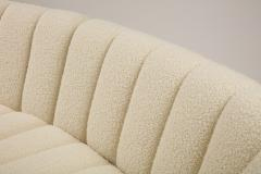 Segmented Curved Sofa in the Style of De Sede in Ivory Boucle Italy - 1953967