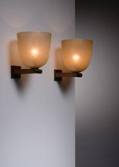 Seguso Vetri d Arte Pair of brass and amber glass pair of wall lamps by Seguso Murano - 1960510