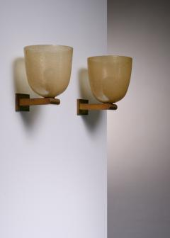 Seguso Vetri d Arte Pair of brass and amber glass pair of wall lamps by Seguso Murano - 1960511