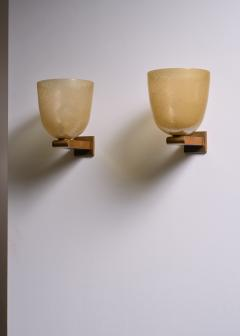 Seguso Vetri d Arte Pair of brass and amber glass pair of wall lamps by Seguso Murano - 1960512