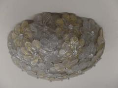 Seguso Vetri d arte Two Large Floral Murano Glass Flush Mount Fixtures by Seguso - 1876885