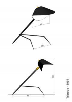 Serge Mouille Serge Mouille Lampe Tripode Table Lamp - 1597590