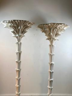 Serge Roche Exceptional Pair of Carved Wood Floor Lamps in the Manner of Serge Roche - 1225152