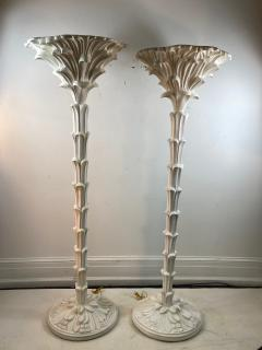 Serge Roche Exceptional Pair of Carved Wood Floor Lamps in the Manner of Serge Roche - 1225154