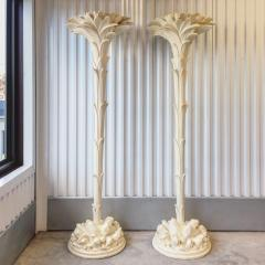 Serge Roche Pair of Plaster Torchere Lamps After Serge Roche - 948699