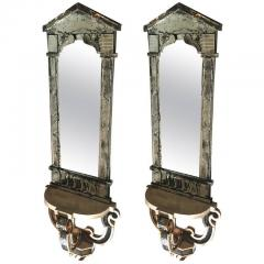 Serge Roche Serge Roche Attributed Pair of 1940s Baroque Oxidized Mirror Wall Consoles - 382949