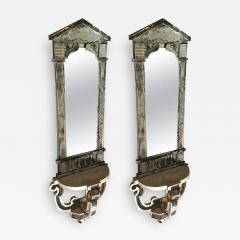 Serge Roche Serge Roche Attributed Pair of 1940s Baroque Oxidized Mirror Wall Consoles - 383224