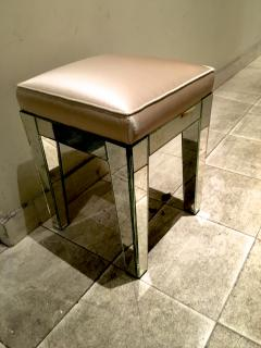 Serge Roche Serge Roche Pair of Mirrored Stools Newly Covered in Pale Pink Silk - 648851