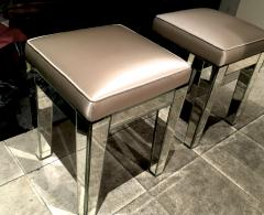 Serge Roche Serge Roche Pair of Mirrored Stools Newly Covered in Pale Pink Silk - 648853