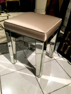 Serge Roche Serge Roche Pair of Mirrored Stools Newly Covered in Pale Pink Silk - 648856