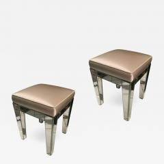 Serge Roche Serge Roche Pair of Mirrored Stools Newly Covered in Pale Pink Silk - 649211