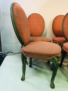 Serge Roche Set of Six Chairs with Carved Wood Frames in the Manner of Serge Roche - 1072753