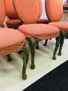 Serge Roche Set of Six Chairs with Carved Wood Frames in the Manner of Serge Roche - 1072756