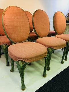 Serge Roche Set of Six Chairs with Carved Wood Frames in the Manner of Serge Roche - 1072757