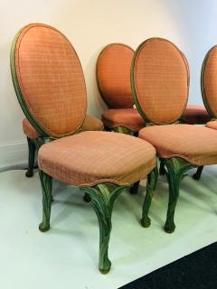 Serge Roche Set of Six Chairs with Carved Wood Frames in the Manner of Serge Roche - 1072759