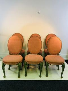 Serge Roche Set of Six Chairs with Carved Wood Frames in the Manner of Serge Roche - 1072764