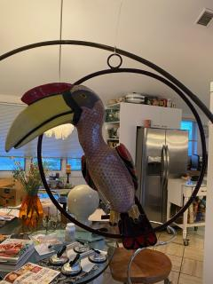 Sergio Bustamante LIFESIZE HORNBILL TOUCAN IN RING HANGING SCULPTURE - 1984757
