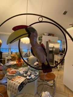 Sergio Bustamante LIFESIZE HORNBILL TOUCAN IN RING HANGING SCULPTURE - 1984759