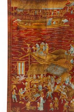 Series of Six Red Lacquered Chinoiserie Panels - 855316