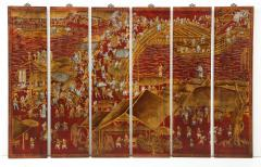 Series of Six Red Lacquered Chinoiserie Panels - 855370