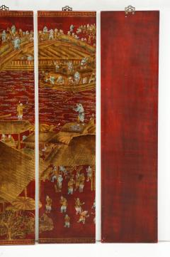 Series of Six Red Lacquered Chinoiserie Panels - 855383