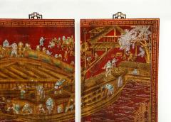 Series of Six Red Lacquered Chinoiserie Panels - 855385
