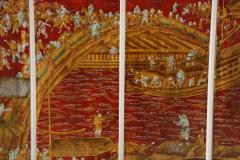 Series of Six Red Lacquered Chinoiserie Panels - 855386