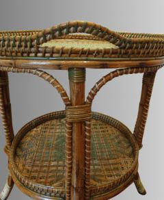 Serving table in woven and lacquered rattan France circa 1900 - 1629232
