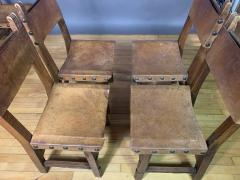 Set Eight Early 1900s Spanish Leather Dining Chairs - 1722654